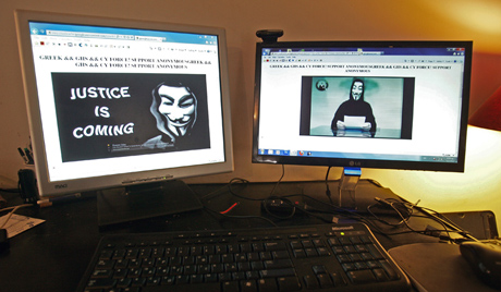 The website of the Greek Ministry of Justice in Athens, Greece is seen hacked by Anonymous