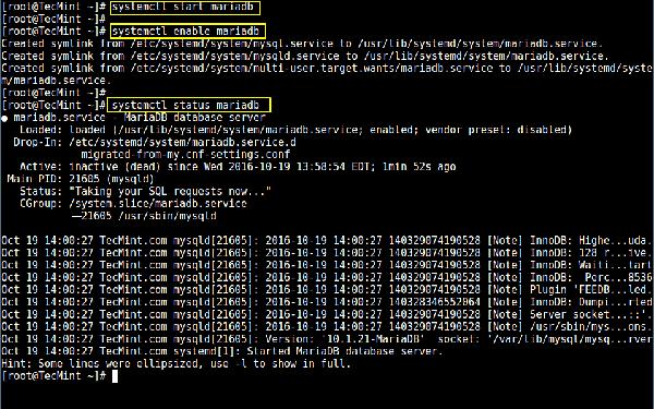 在 CentOS 7 中启动 MariaDB 服务