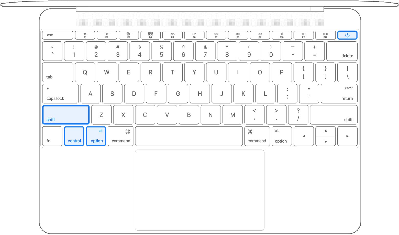 已按下所有 4 个按键的笔记本电脑键盘
