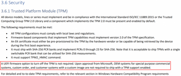 """""""后门""""仍在:官方文档揭示TPM 2.0并非Windows 11的最低配置要求"""