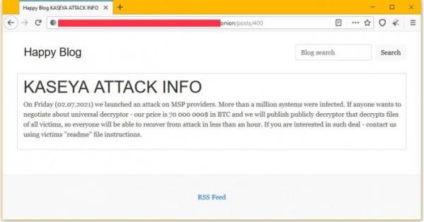Kaseya勒索软件攻击者声称入侵100万台设备:索要7000万美元赎金