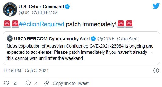 美国网络司令部警告各机构立即修补被大规模利用的Confluence漏洞
