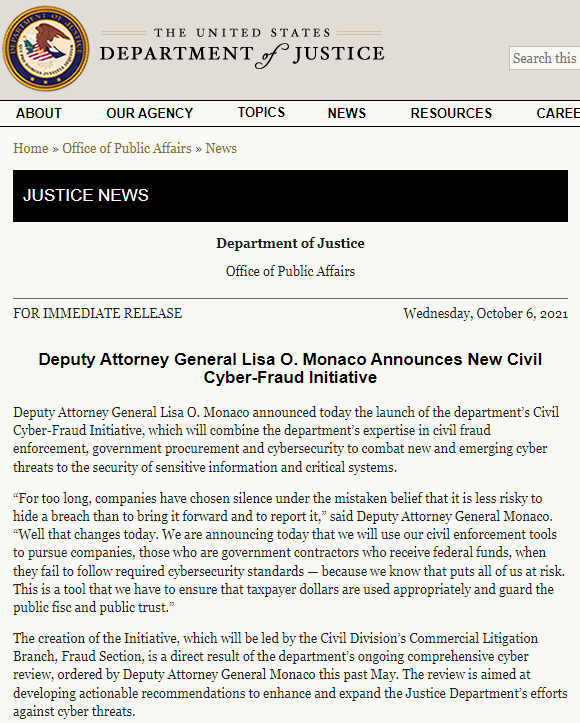 美司法部:瞒报网络攻击或数据泄露事件的联邦承包商将被起诉